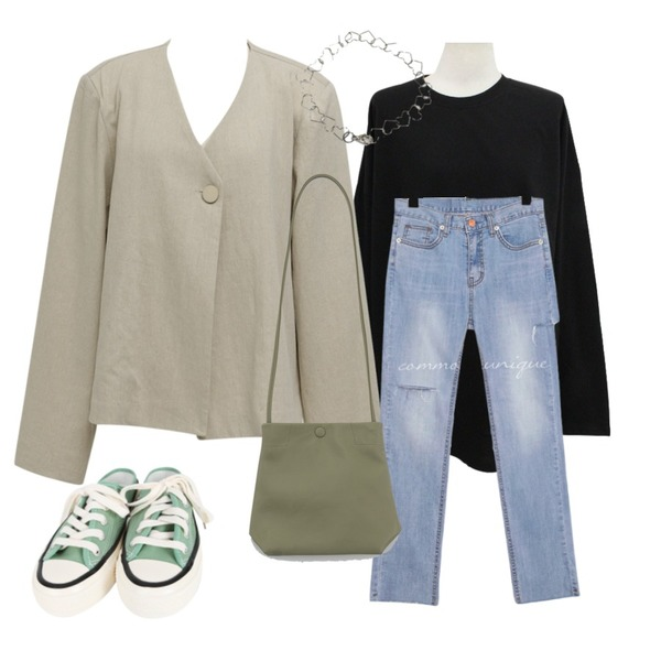 BITDA 세인트리 t (7color),common unique [BOTTOM] REMOVE DAMAGE DENIM PANTS,From Beginning Hide linen collarless jacket_S (린넨 70%) (size : free)등을 매치한 코디