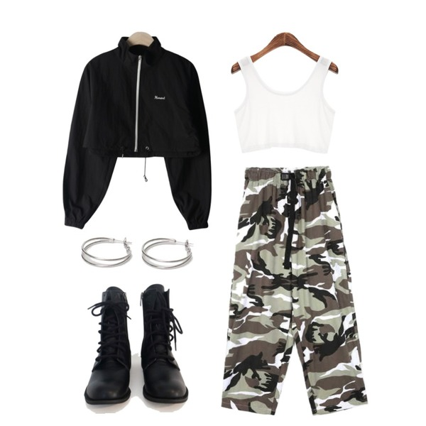 AFTERMONDAY walker ankle boots,From Beginning Twin circle earring_Y (size : one),openthedoor color camo camper pants (2 color) - men등을 매치한 코디
