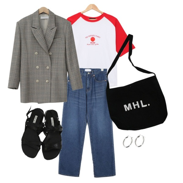 From Beginning Noise check line jacket_M (size : free),BULLANG GIRL 행성나그랑반팔T,AIN pin wide straight denim pants (s, m)등을 매치한 코디