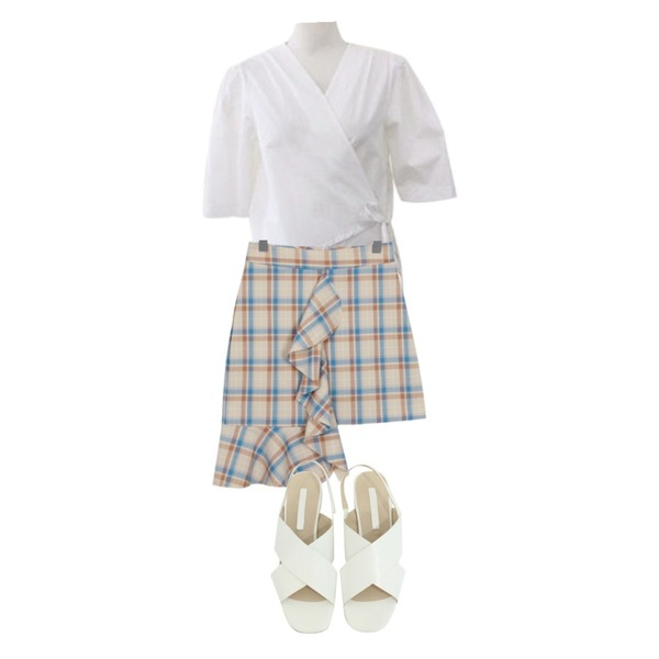 From Beginning Made_bottom-079_check wing skirt (size : S,M),BITDA 리틀랩 blouse (3color),BITDA 헤일로 sh (3color)등을 매치한 코디