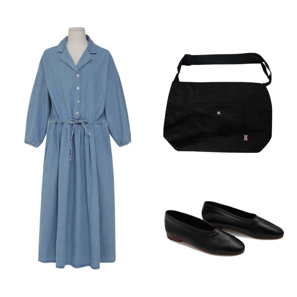 From Beginning Maxi wide denim ops_B (size : free),daily monday Martin flat shoes,MIXXMIX 유니잭잭 크로스백등을 매치한 코디