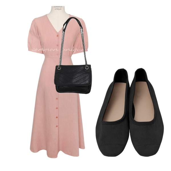 From Beginning Series suede flat shoes_B (size : 225,230,235,240,245,250),BITDA 체인티치 bag,common unique [OPS] ENTA LINEN PUFF STRAP LONG OPS등을 매치한 코디
