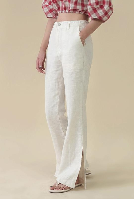 Semi-boot cut linen pants