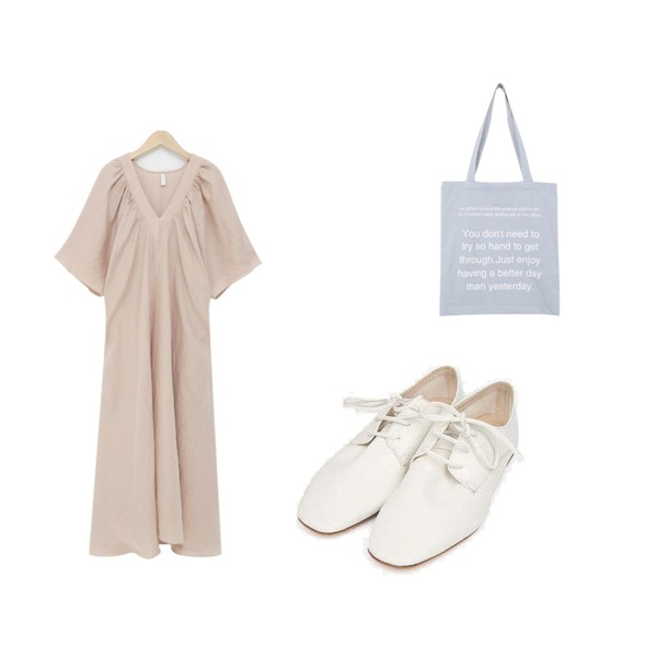 AIN real daily point loafer (230-250),BULLANG GIRL 영문레터링에코백,From Beginning Aurora shurring linen ops_K (린넨 100%) (size : free)등을 매치한 코디