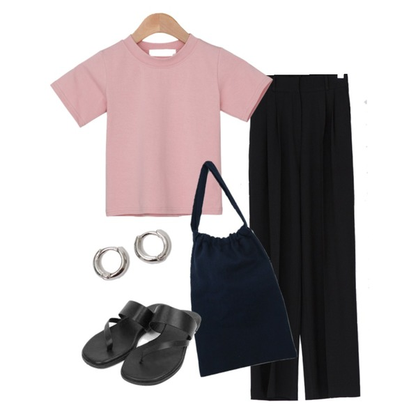 From Beginning Simple minimal earring_B (size : one),BANHARU 1/2 day pants #125,BANHARU 1/2 day tee #568등을 매치한 코디
