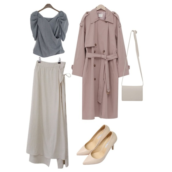 From Beginning Latte double trench coat_K (size : free),binary01 랩 드림 체크블라우스,BITDA 유스랩 pants (2color)등을 매치한 코디
