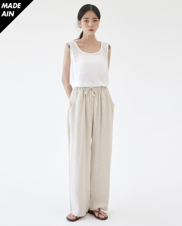 FRESH A cozy linen banding pants