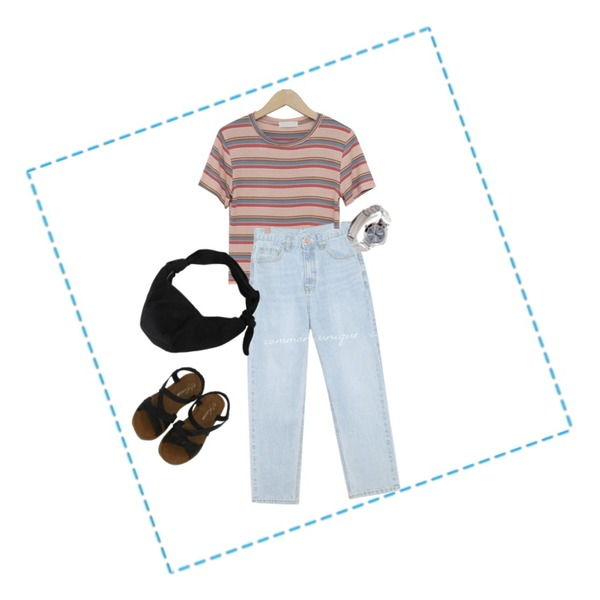 BITDA 메인 shoes (3color),common unique [BOTTOM] BUNT SEMI BAGGY DENIM PANTS,From Beginning Candy stripe crop T_B (린넨 35%) (size : free)등을 매치한 코디