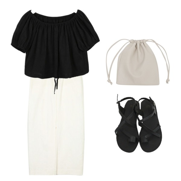 From Beginning Male soft string bag_K (size : one),AIN powder puff string blouse,AIN chilly linen long skirt (s, m)등을 매치한 코디