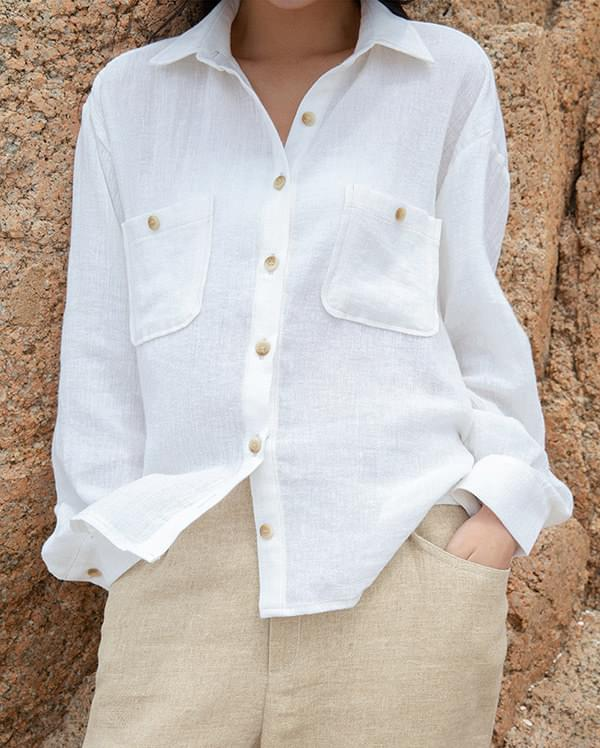 pocket stitch linen shirts