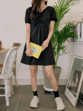 Shirring Clenched Mini Dress