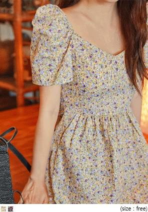SLODY FLOWER SHIRRING PUFF JUMPSUIT