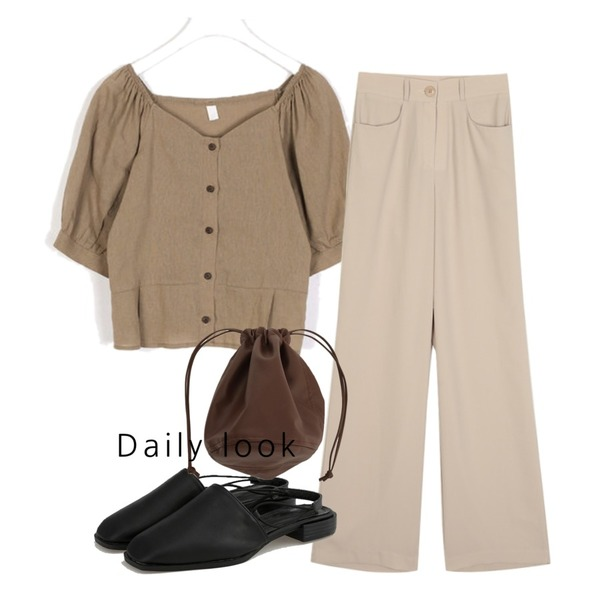 AIN holic puff sleeve blouse,BANHARU soft slingback sandal,openthedoor french long slacks (3 color) - woman등을 매치한 코디