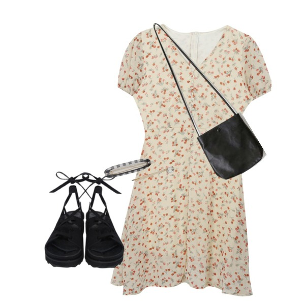 openthedoor suede gladiator sandals,AIN daisy esquare shoulder bag,MIXXMIX 레이디 원피스등을 매치한 코디