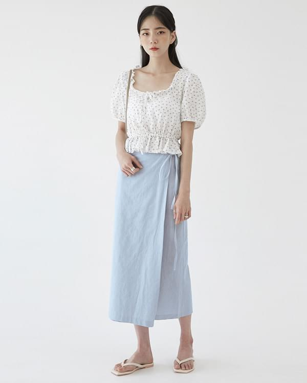 linen smooth wrap skirt