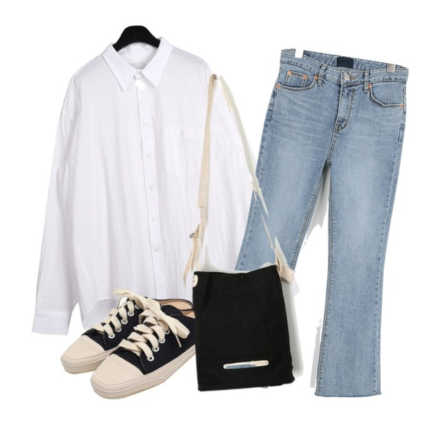 From Beginning Canvas sneakers mule_K (size : 225,230,235,240,245,250),daily monday Linen over shirts,MOREDAY 로이 부츠컷 데님 팬츠등을 매치한 코디