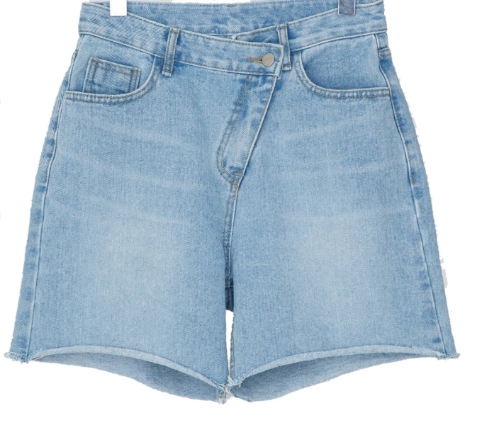 unbalance zipper denim shorts