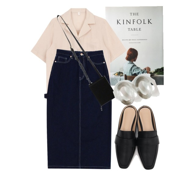 kinfolk table,biznshoe Strap denim long skirt (2colors),biznshoe Linen collar shirts (5colors)등을 매치한 코디