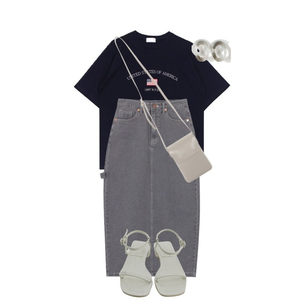 biznshoe USA tee (2color),biznshoe Strap denim long skirt (2colors),BANHARU neat thin strap sandal등을 매치한 코디