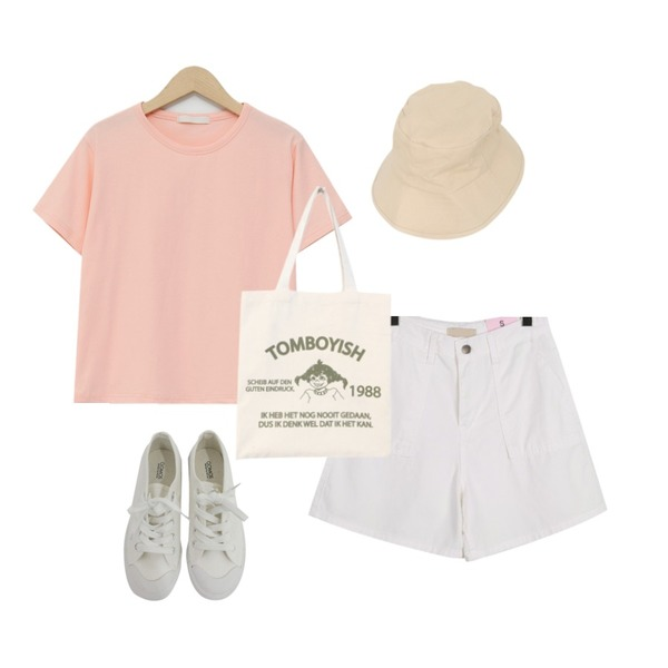 BITDA 버터링 sh (3color),daily monday Pocket cotton short pants,From Beginning Creamy soft span T_N (size : free)등을 매치한 코디