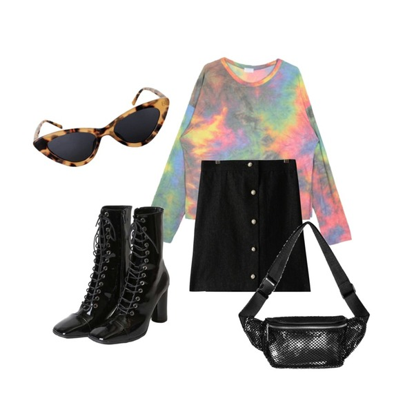 openthedoor enamel lace-up middle boots (2 color),openthedoor rainbow tie-dye wrinkle T - woman,GIRLS RULE 데님 진주 A라인 스커트 (sk1827)등을 매치한 코디