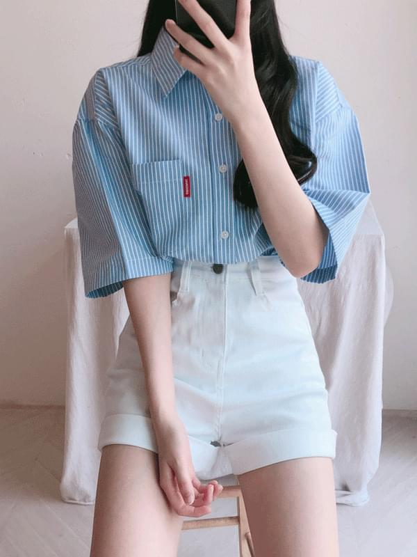 Striped pocket short sleeve shirt