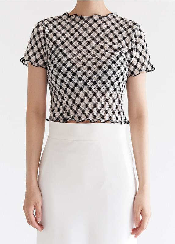 Sheer Check Crop Top