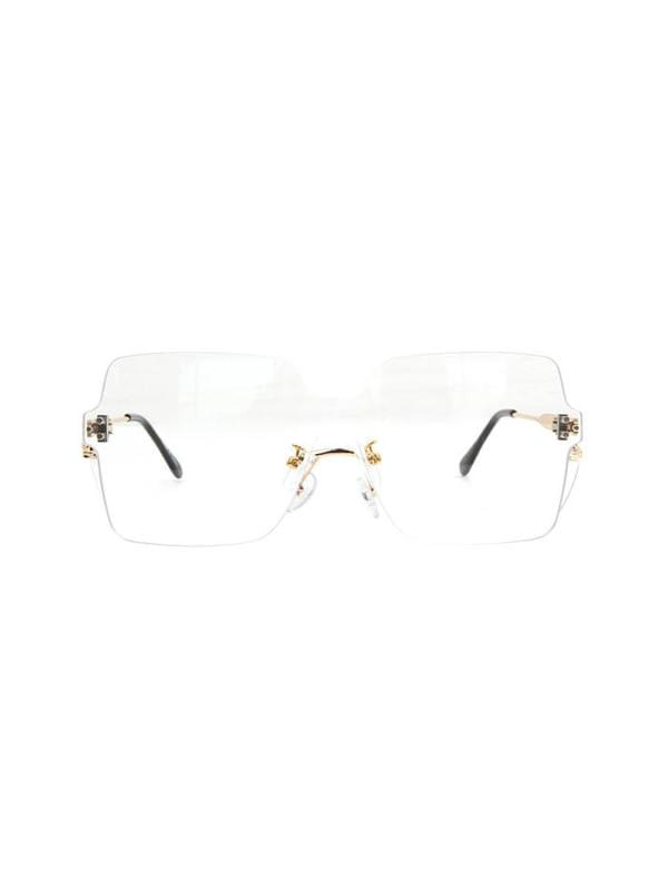 big square rimless sunglasses