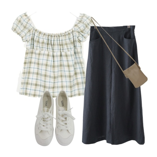From Beginning Petit cross mini bag_K (size : one),AIN picnic day sleeveless blouse,AFTERMONDAY linen A-line long skirt (3colors)등을 매치한 코디