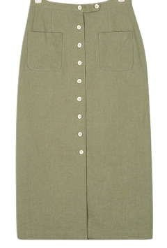 linen button long skrit