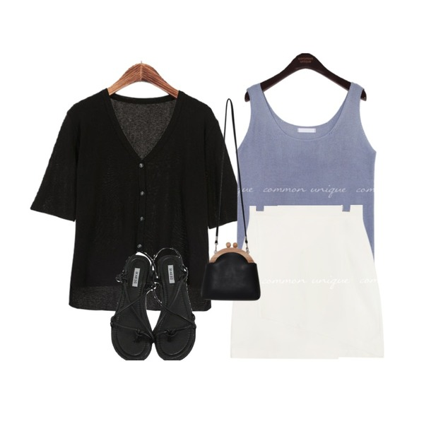common unique 5 COLOR JUNIOR KNIT SLEEVELESS,ROCOSIX 브이넥 언발 5부 가디건,common unique SELLER WRAP MINI SKIRT - 2 TYPE등을 매치한 코디