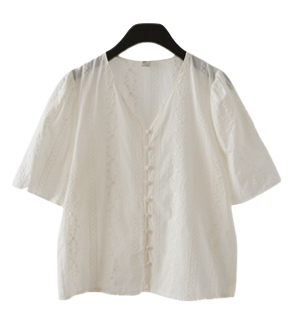 lace detail button blouse