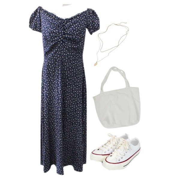 From Beginning Until layered necklace_K (size : one),AIN taylor canvas sneakers (225-250),BITDA 뮬리플라워 dress (2color)등을 매치한 코디
