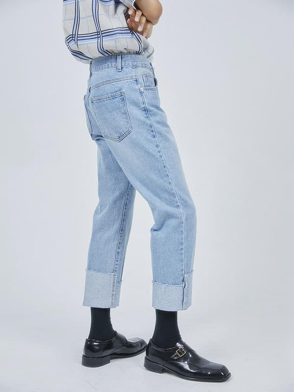unbalance roll-up jeans - men
