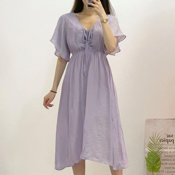 Cello V-neck String Long Dress