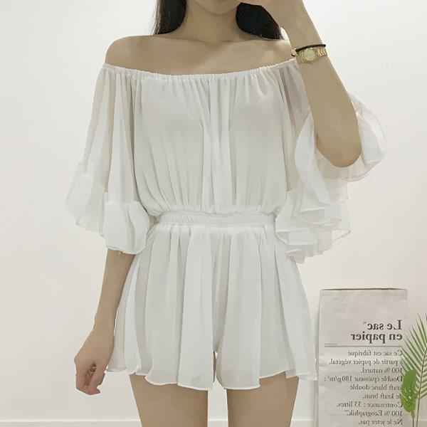 Sheets Off Shoulder Chiffon Banding Jump Suit