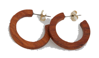 natural slim wood earring