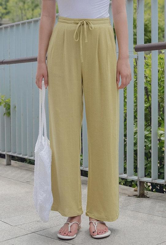 Linen wide bending pants