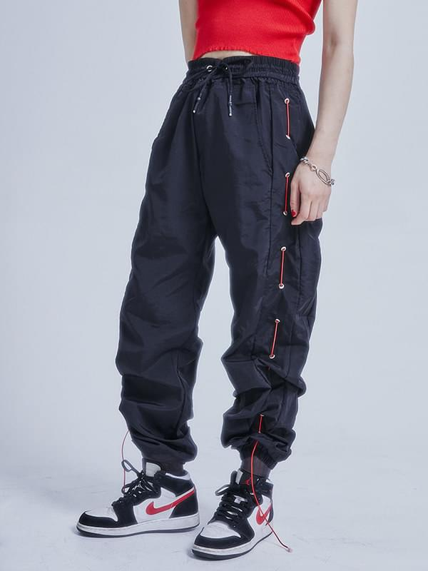 eyelet side string jogger pants - men