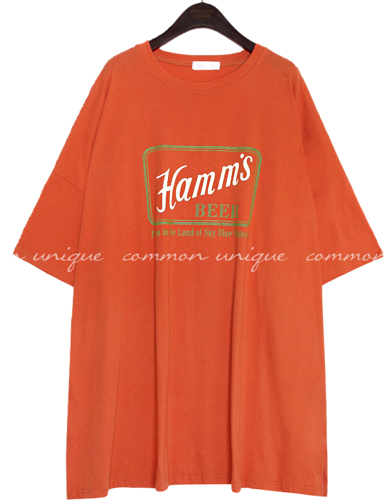 BEER LETTERING BOXY COTTON SLIT 1/2 T