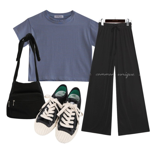 From Beginning Trip pocket cotton bag_N (size : one),common unique STERN SILKY BANDING WIDE PANTS,GIRLS RULE 쥬시 크롭티 (t6607)등을 매치한 코디
