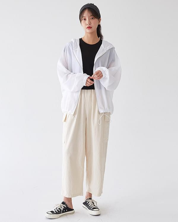 linen wide pocket pants 長褲