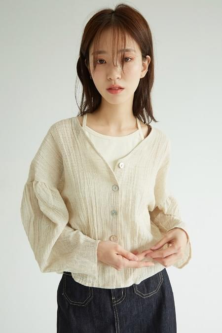 v-neck linen button blouse