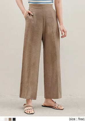 BURT LINEN SIDE ZIPPER WIDE PANTS