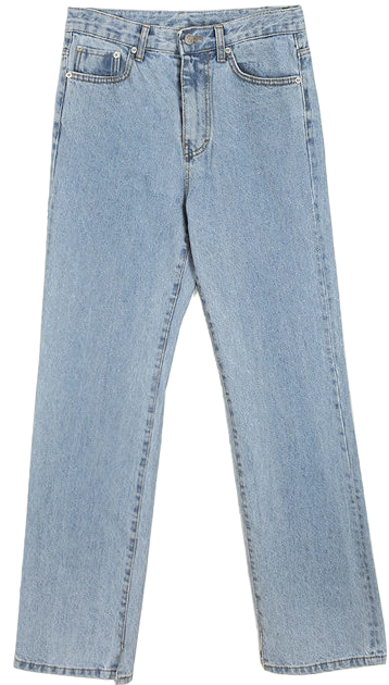 semi slit denim pants - men