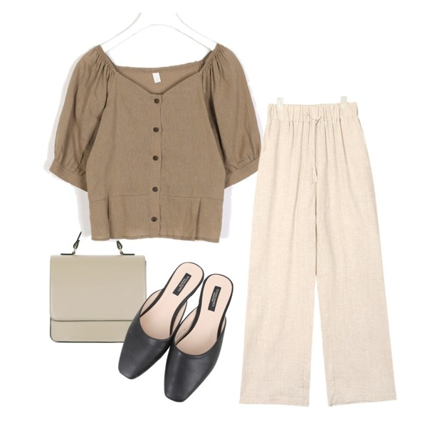 UPTOWN HOLIC 브런치 bag (*5color),AIN remain wide linen pants,AIN holic puff sleeve blouse등을 매치한 코디