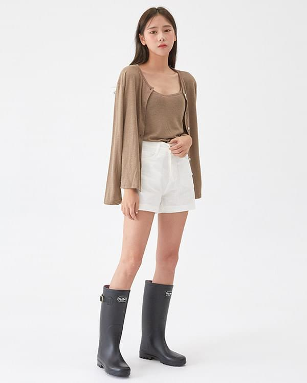 linen basic cardigan set