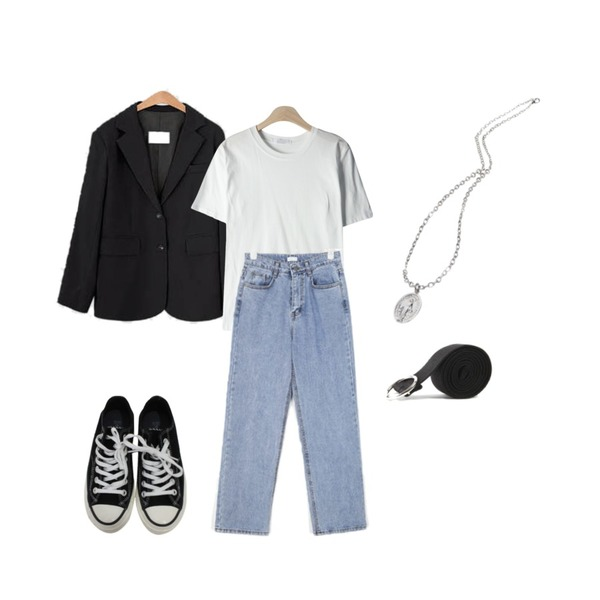 openthedoor maria cross necklace,LOVELY SHOES 스탠드 자켓,GIRLS RULE 베이직 컬러 반팔 티셔츠 (t6235)등을 매치한 코디
