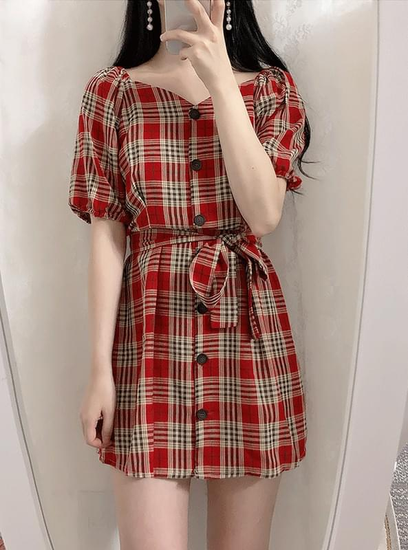 Belt set Dana check shoulder dress