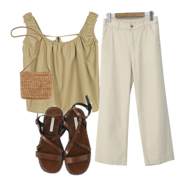 moaol string minimal summer sleevless,From Beginning Basic cool cotton pants_A (size : S,M,L),BITDA 제로틱 shoes (2color)등을 매치한 코디